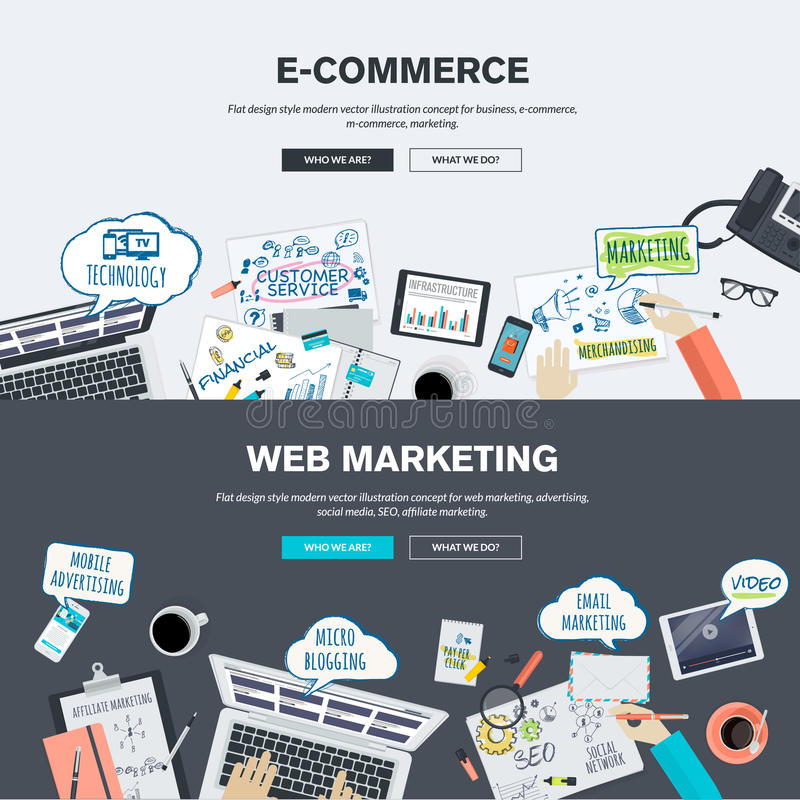 Set of flat design illustration concepts for e-commerce and web marketing stock illustration