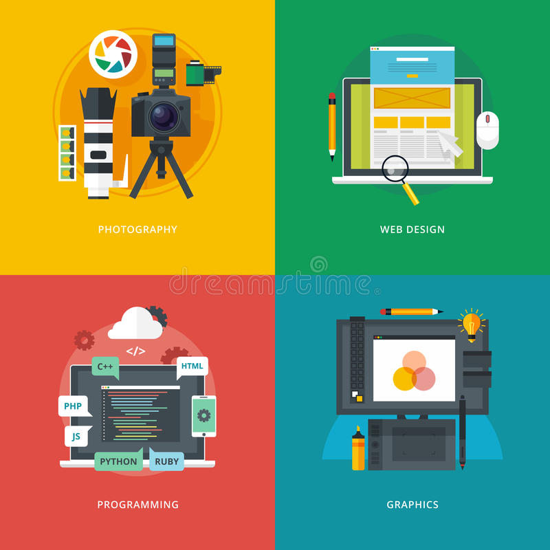Set of flat design illustration concepts for photography, web design, programming, graphics. Education and knowledge ideas. royalty free stock photo