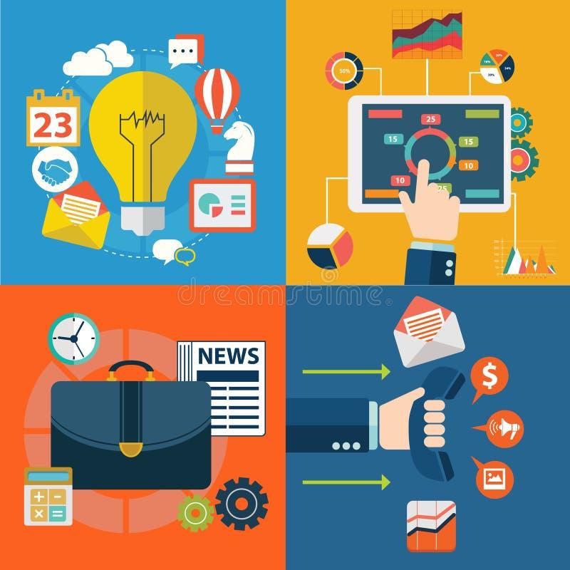 Set of flat design illustration concepts for planning, teamwork and mission stock illustration