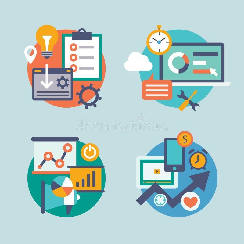 Set flat design for internet marketing. Icons can stock illustration
