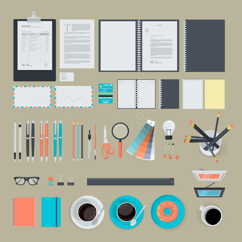 Set of flat design items for business royalty free illustration