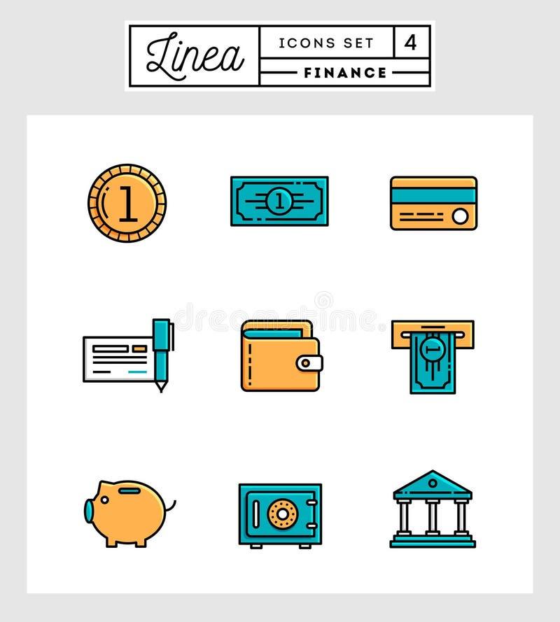 Set of flat design line icons of finance elements. Vector illustration stock illustration