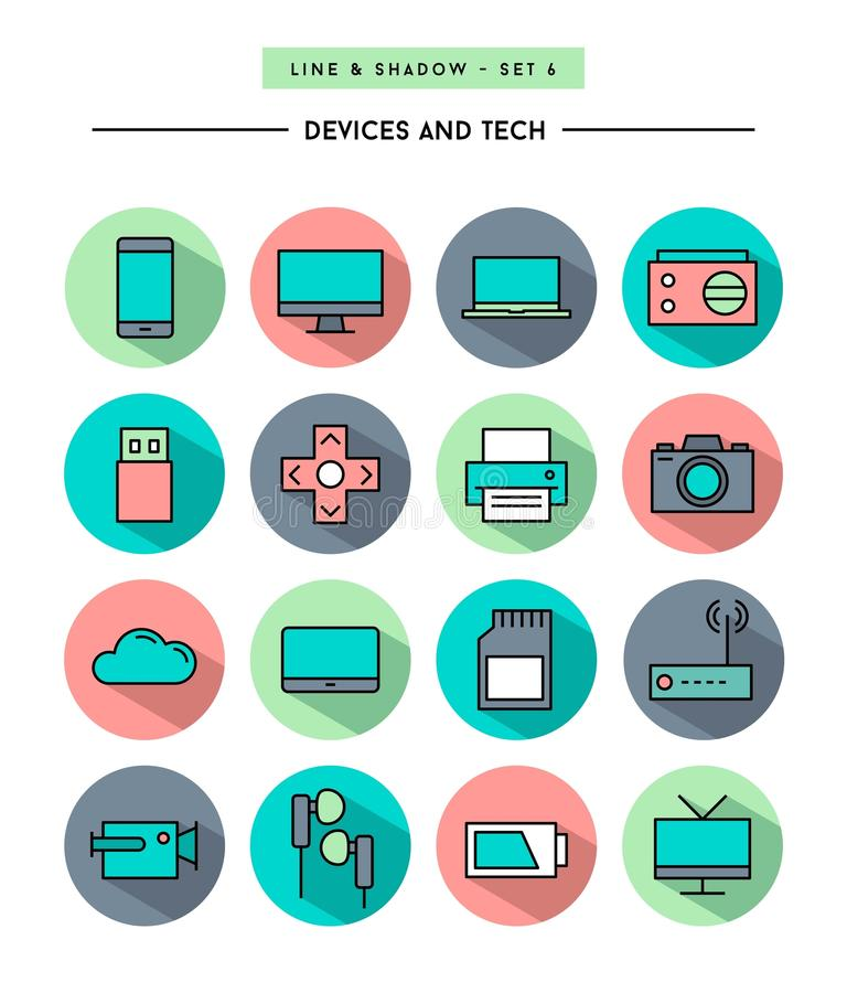 Set of flat design,long shadow, thin line devices and tech icons. Vector illustration royalty free illustration