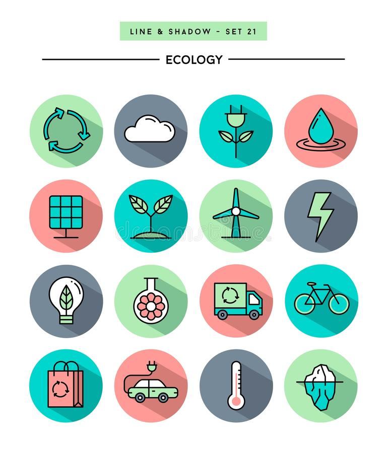 Set of flat design,long shadow, thin line ecology icons. Vector illustration royalty free illustration