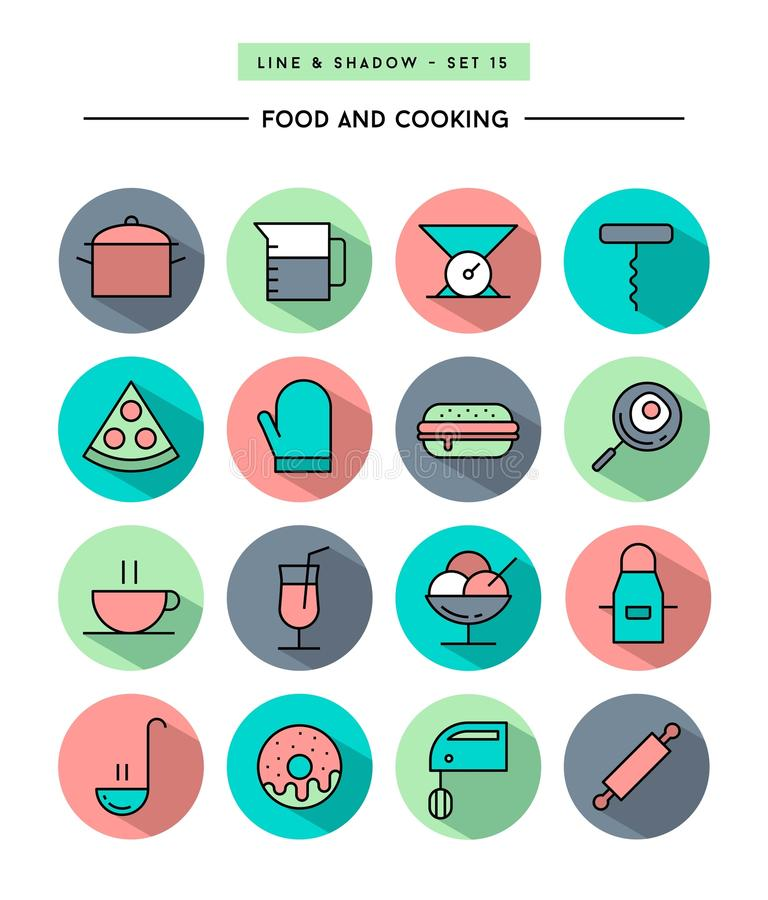Set of flat design,long shadow, thin line food and cooking icons. Vector illustration royalty free illustration