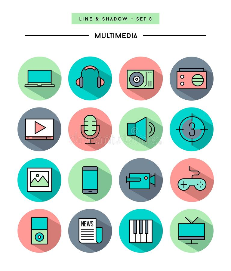 Set of flat design, long shadow, thin line multimedia icons. Vector illustration royalty free illustration