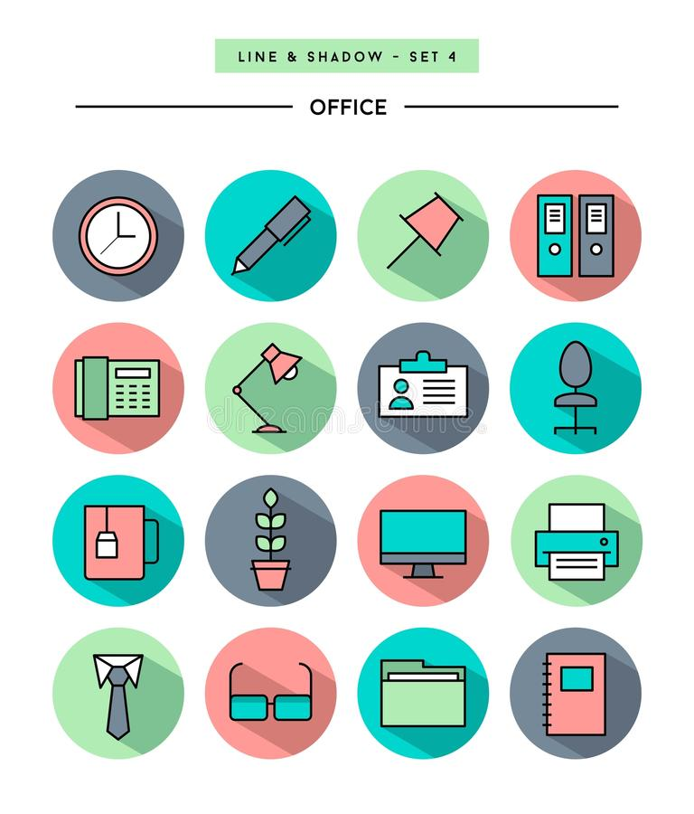 Set of flat design,long shadow, thin line office icons. Vector illustration vector illustration