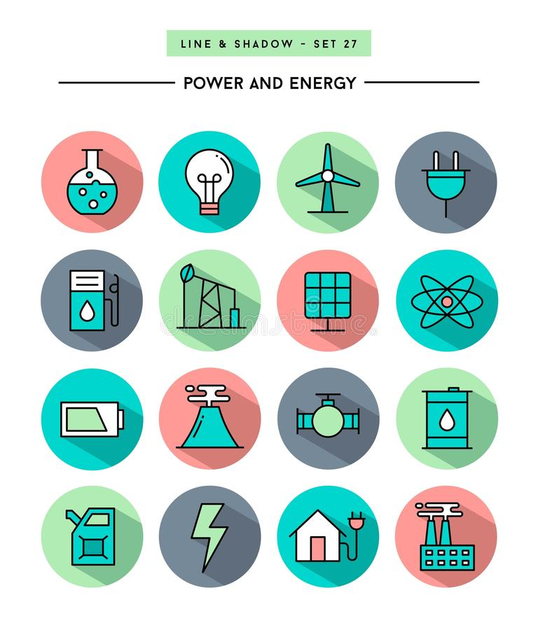 Set of flat design,long shadow, thin line power and energy icons. Vector illustration royalty free illustration