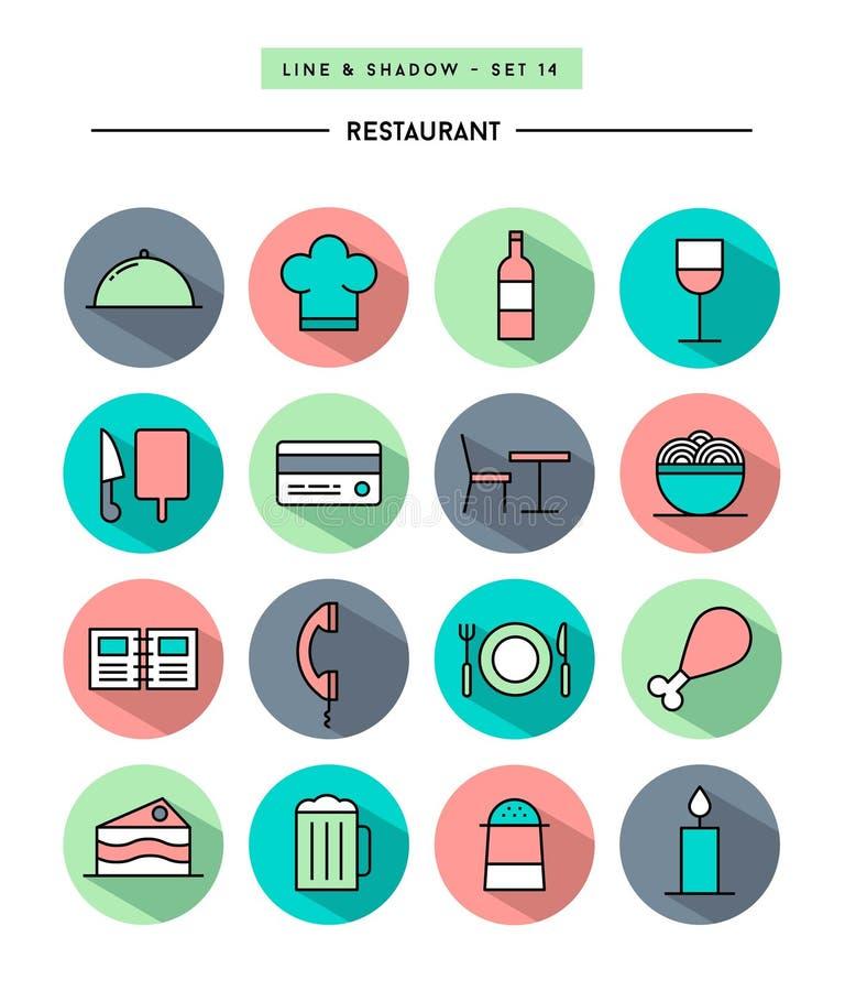 Set of flat design,long shadow, thin line restaurant icons royalty free illustration
