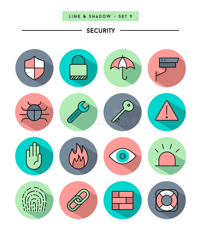 Set of flat design,long shadow, thin line security icons stock illustration