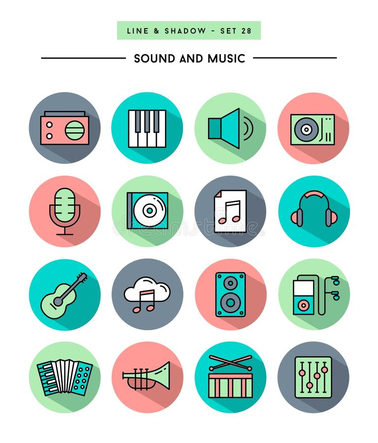 Set of flat design,long shadow, thin line sound and music icons. Vector illustration vector illustration