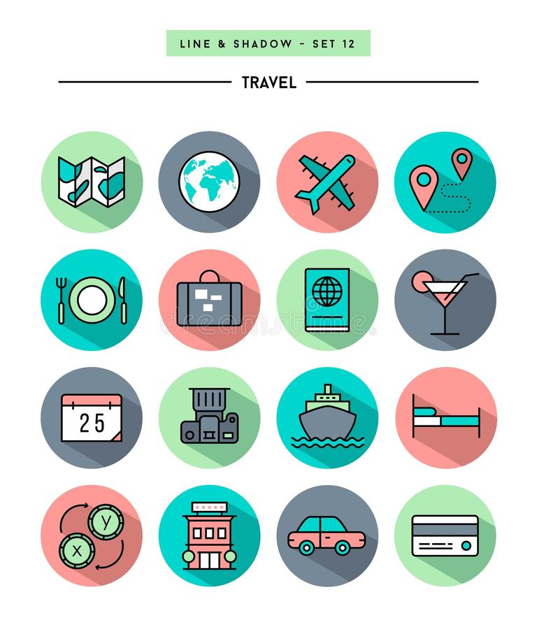 Set of flat design,long shadow, thin line travel icons. Vector illustration stock illustration