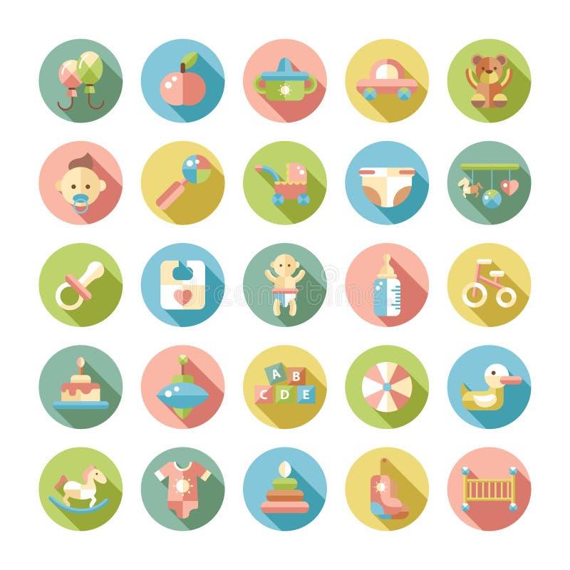 Set of flat design pastel cute baby icons stock illustration