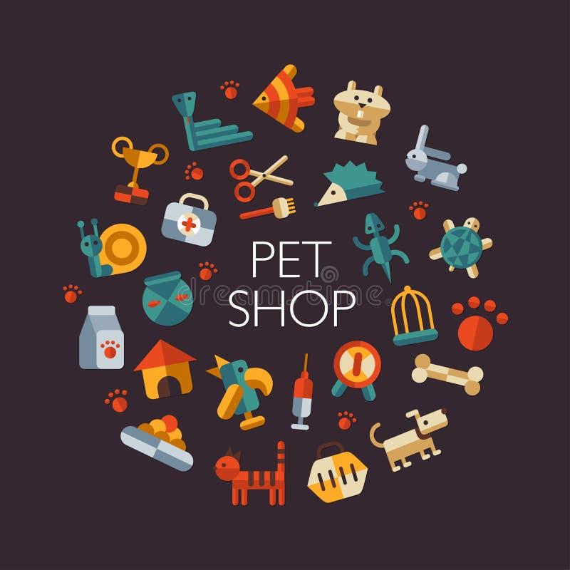 Set of flat design pet shop icons royalty free illustration