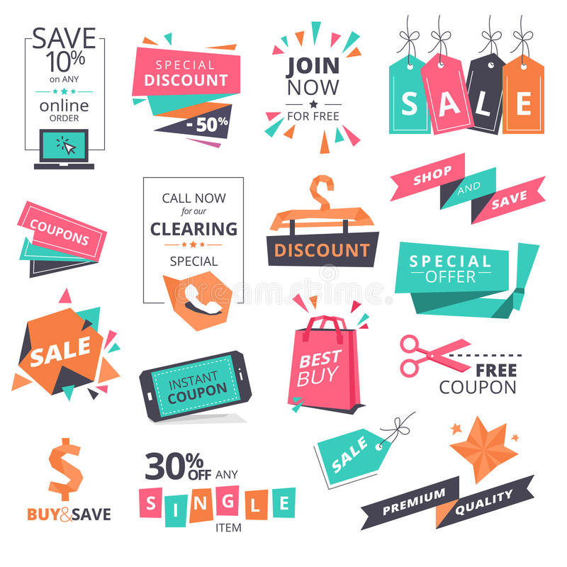 Set of flat design style badges and coupons for shopping royalty free illustration