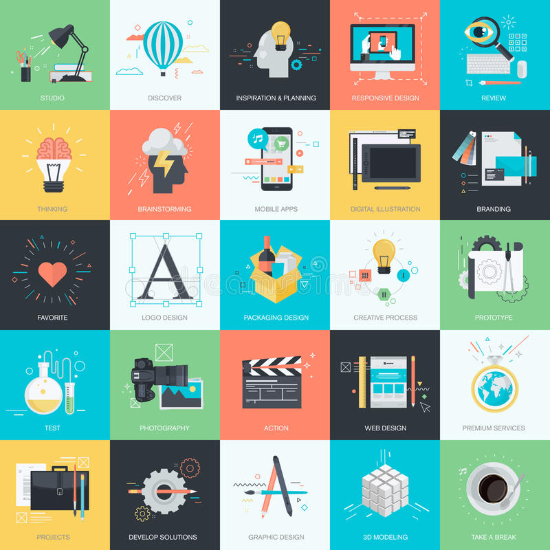 Set of flat design style icons for graphic and web design vector illustration