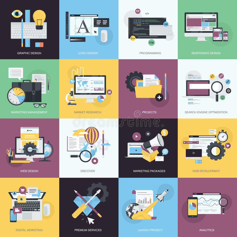 Set of flat design style icons for graphic and web design royalty free illustration
