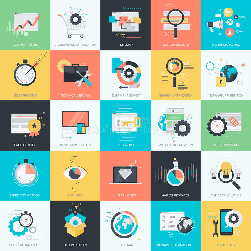 Set of flat design style icons for SEO, web development. Set of flat design style concept icons for graphic and web design. Icons for website development, SEO stock illustration