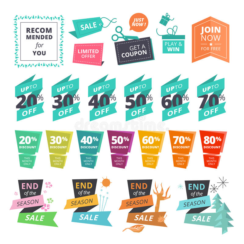 Set of flat design style stickers and ribbons for shopping royalty free illustration