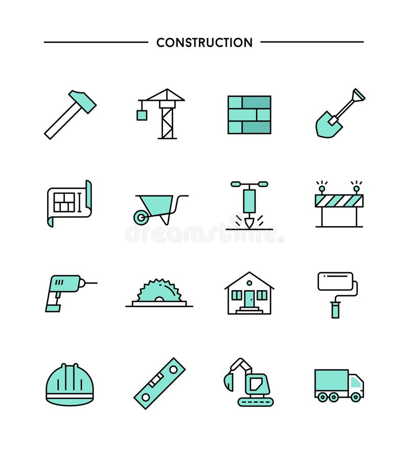 Set of flat design, thin line construction icons. Vector illustration stock illustration