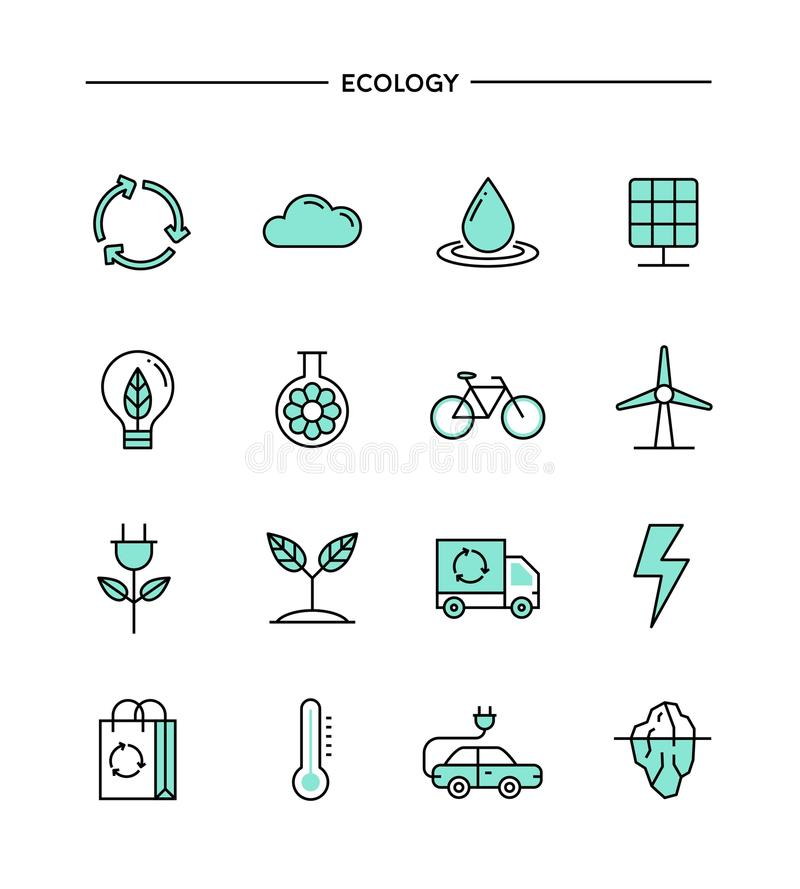 Set of flat design, thin line ecology icons. Vector illustration royalty free illustration