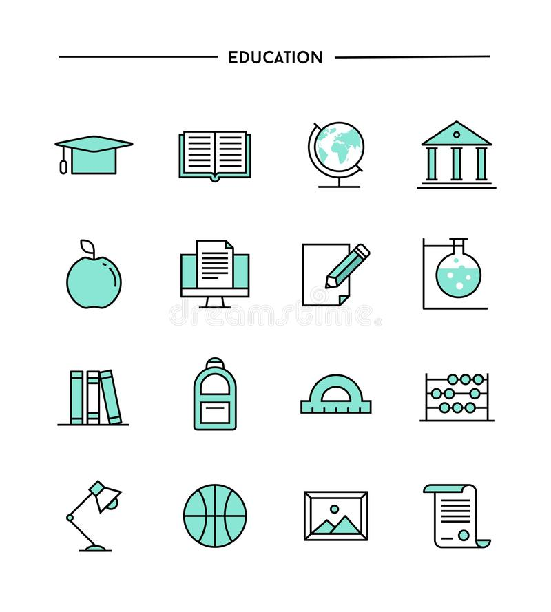 Set of flat design, thin line education icons. Vector illustration royalty free illustration