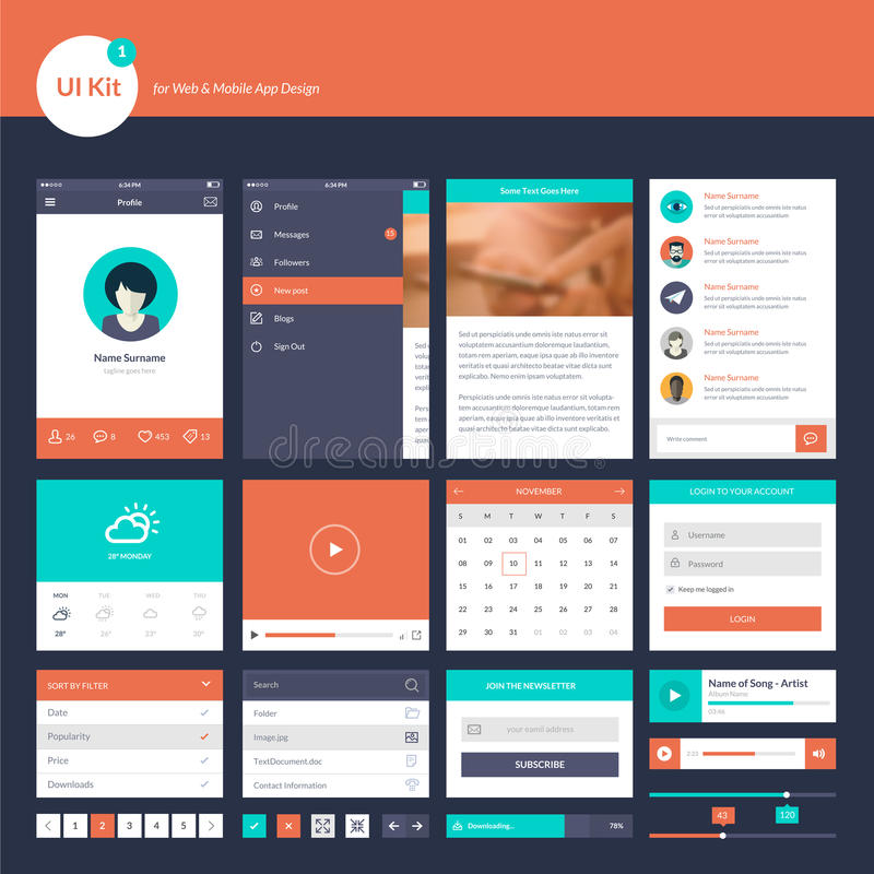 Set of flat design UI and UX elements for website and mobile app design vector illustration