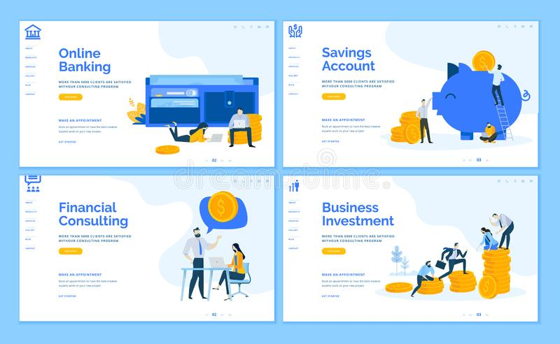 Set of flat design business web page templates vector illustration