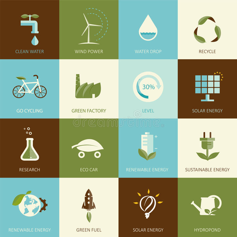 Set Of Flat Designed Ecology Icons Stock Vector