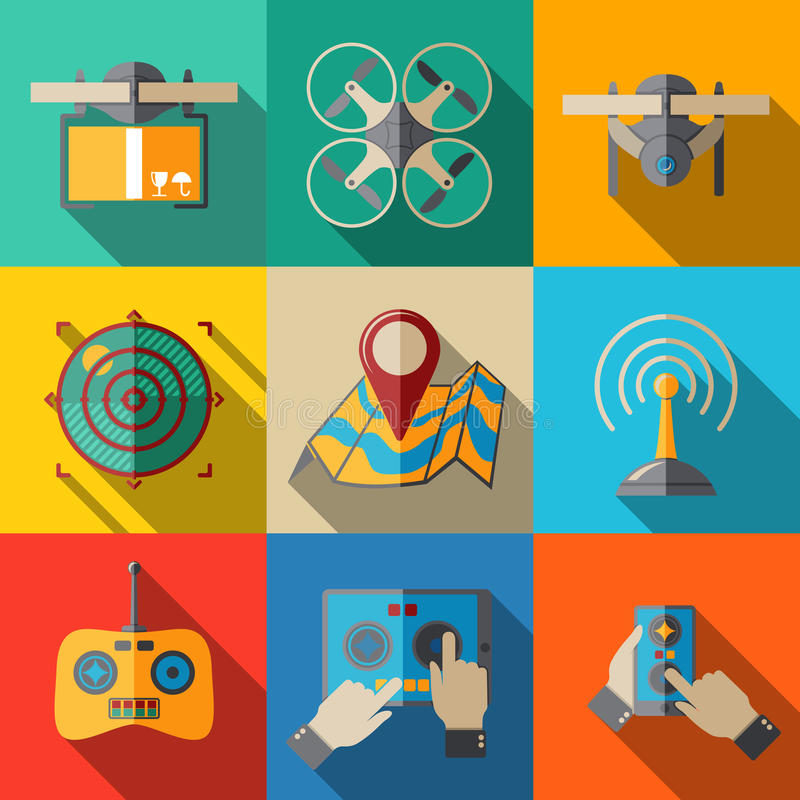 Set of flat drone icons - with box, top view vector illustration