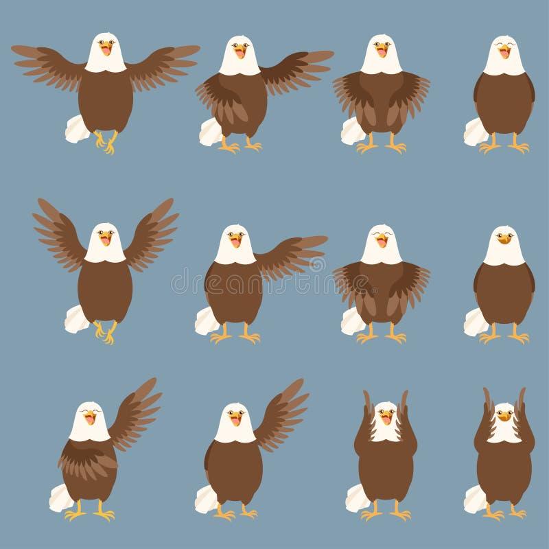 Set of flat eagle icons vector illustration