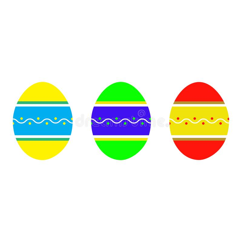 Set of flat Easter eggs with ornament on white background. Spring holiday. Vector Illustration. Happy easter eggs stock illustration