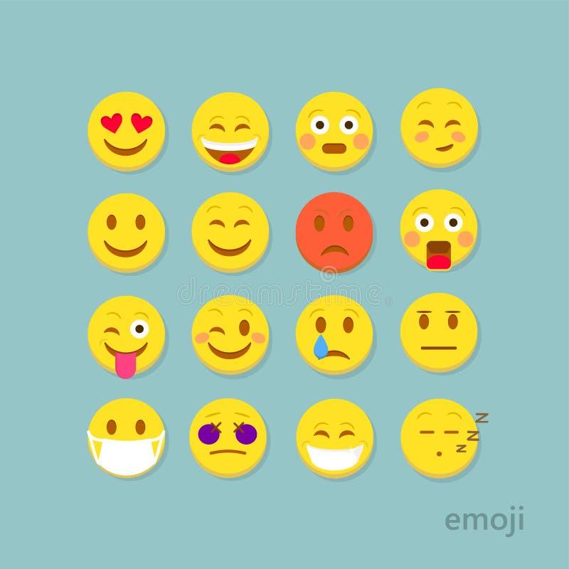 Set of flat emoticons. Emoticon vector illustration. Emoticon icons. Emoticon face on a white background. Emoticon smiley faces. Flat design. Emoticon isolated stock illustration
