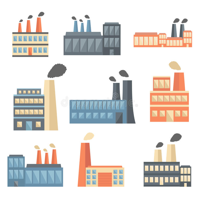 Set of flat factory icons royalty free stock photos