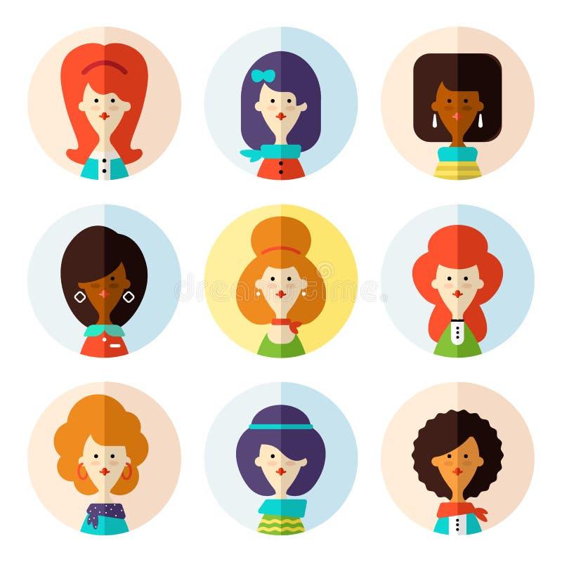 Set of flat female avatar icons for social media. vector illustration