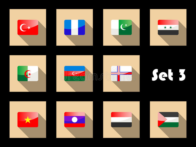 Download Set Of Flat Flag Icons Of Eastern Countries Stock Vector - Image: 38498331