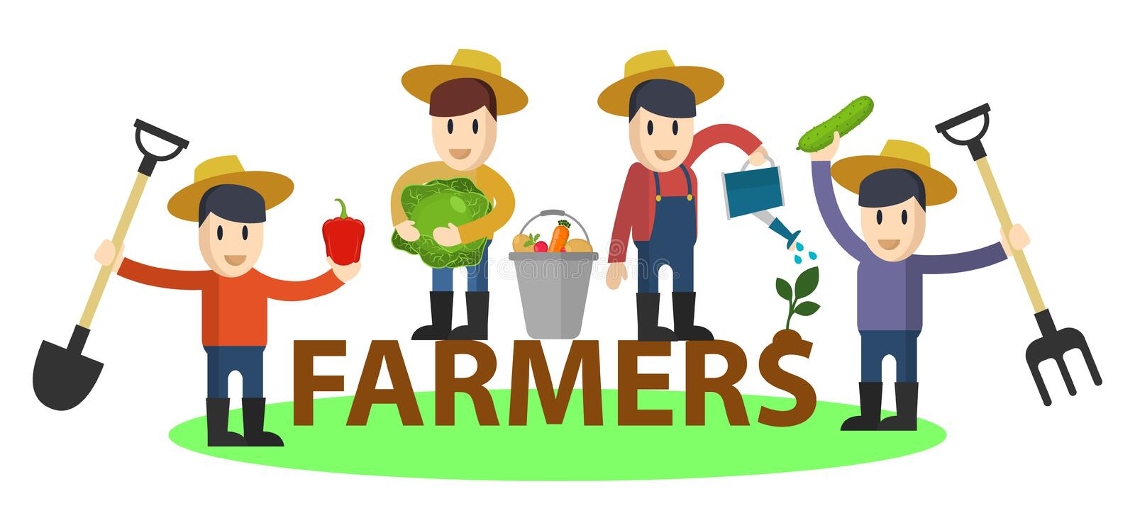 Set of flat funny farmers and gardeners with tools and vegetables. Vector characters set. Agriculture concept royalty free illustration