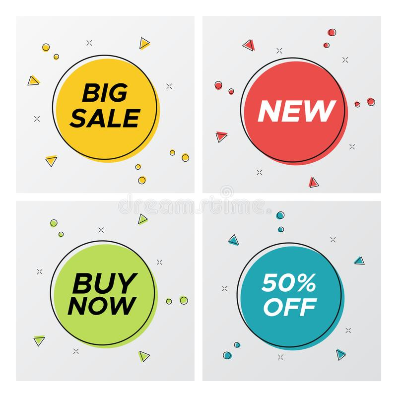 Bright geometric sale labels with particles burst vector illustration
