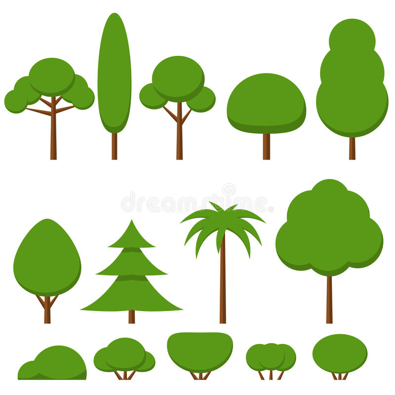 Set of flat green tree and bushes vector illustration