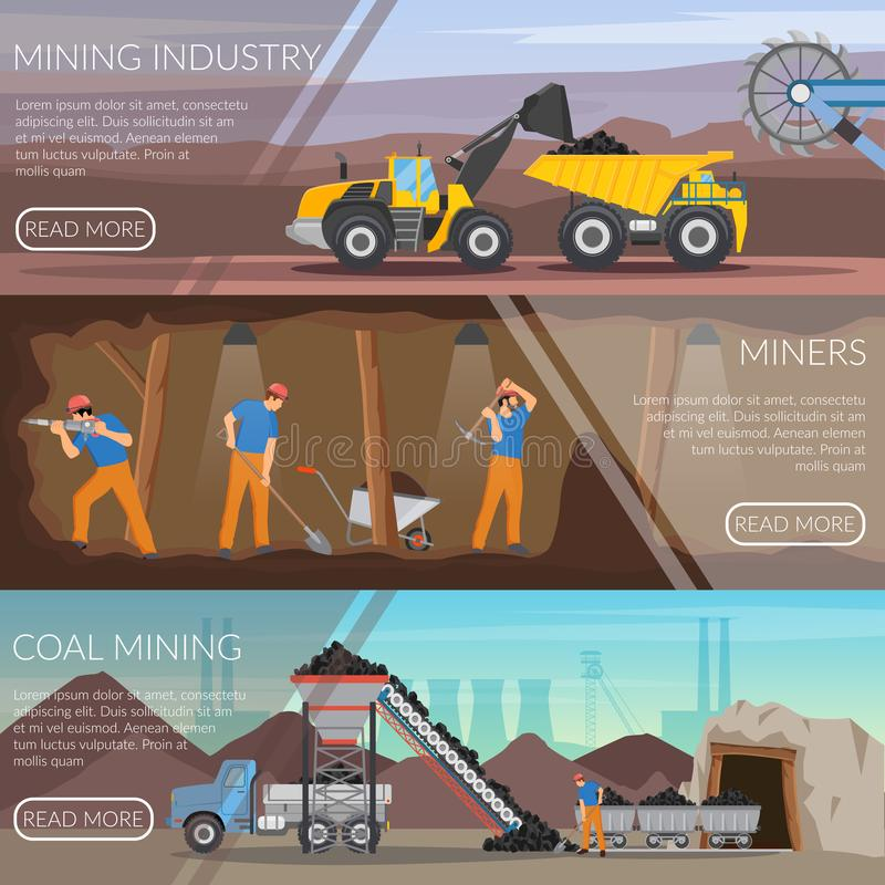 Mining Industry Horizontal Flat Banners royalty free illustration