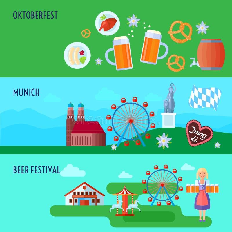 Set of flat horizontal German Oktoberfest beer festival icons banners presents Munich and Bavarian cuisine vector illustration royalty free illustration