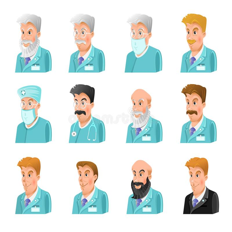 Set of flat icon of doctors different age and speciality. On white stock illustration
