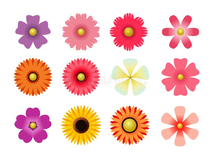 Set of flat icon flower icons in silhouette isolated on white. for stickers, labels, tags, gift wrapping paper. Set of flat icon flower icons in silhouette vector illustration