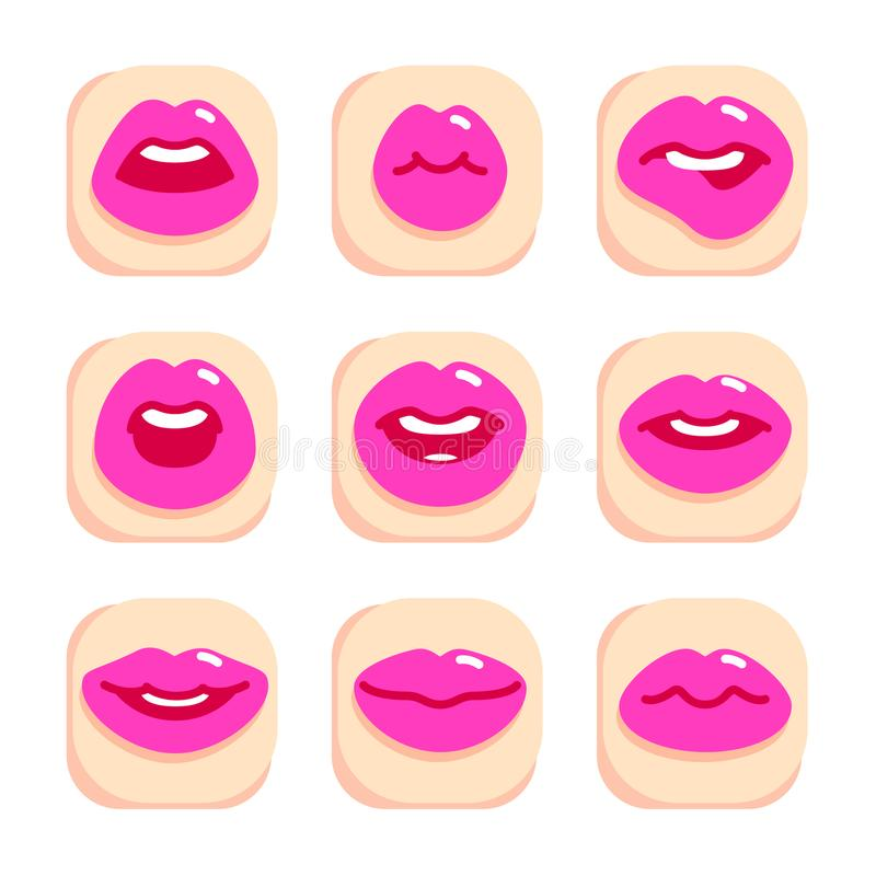 Set of flat icons with lips. Set of flat icons with female pink lips gestures. Flat design, vector illustration royalty free illustration
