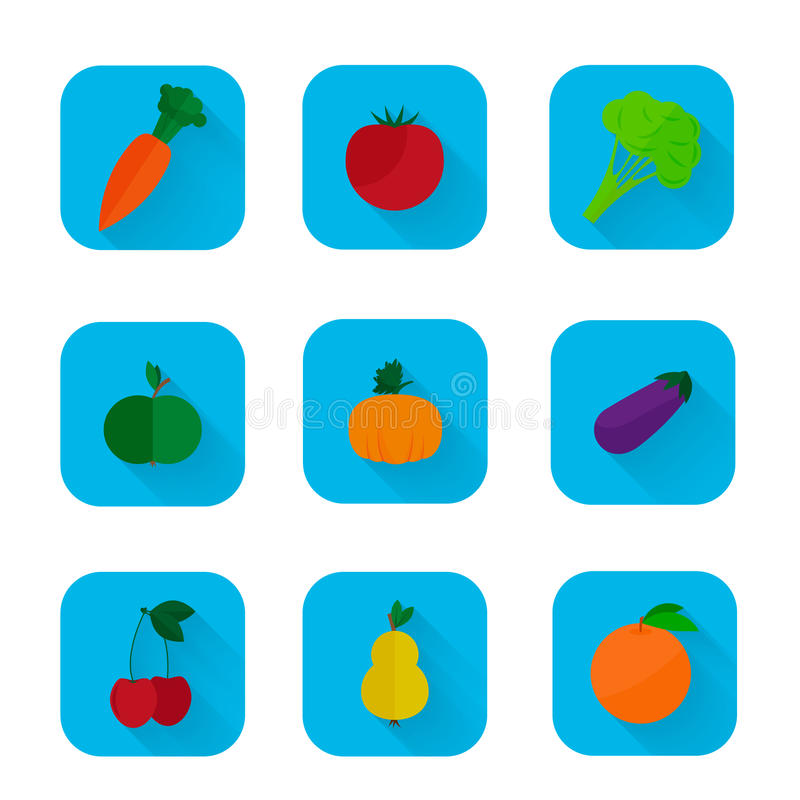 Set of flat icons - fruits and vegetables stock illustration