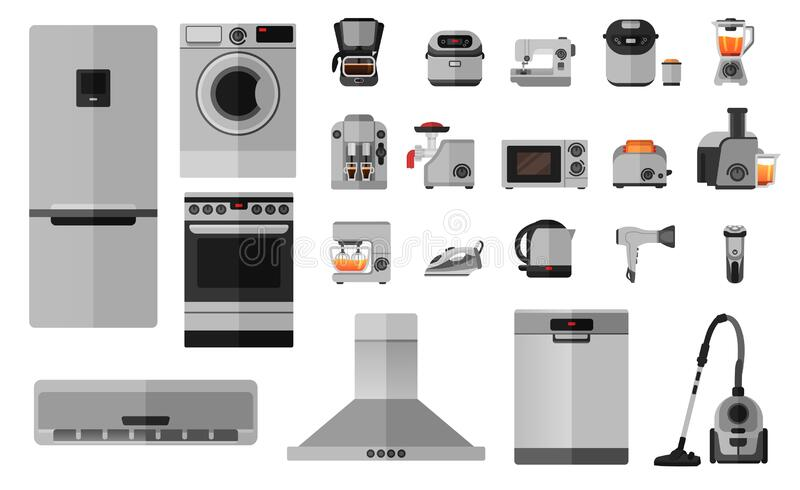 Set of 22 flat icons of household items. For commercial use, online store. Refrigerator, electric stove, dishwasher, coffee maker, blender, mixer and so on stock illustration