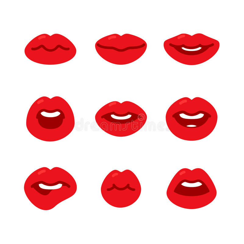 Set of flat icons with lips. Set of flat icons with female red lips gestures. Beautiful lips on a white background. Flat design, vector illustration vector illustration