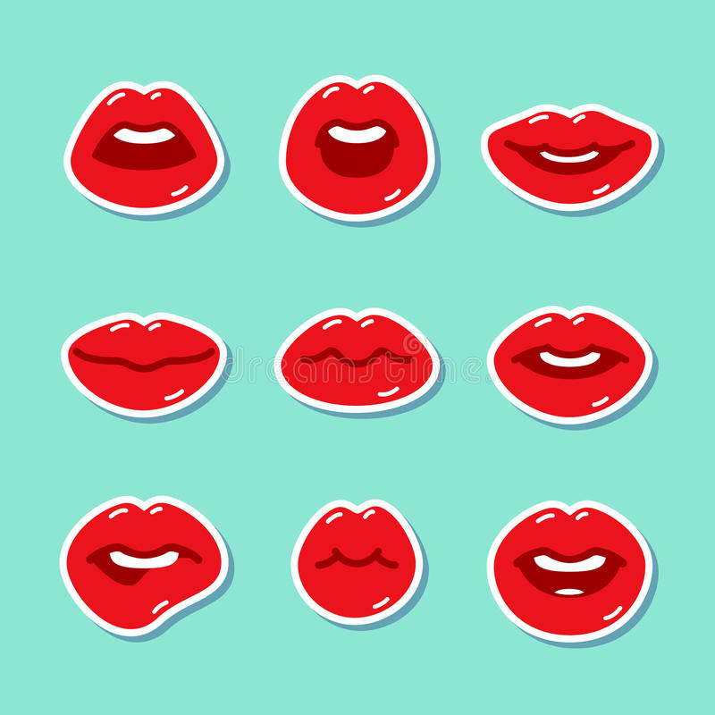 Set of flat icons with lips. Set of flat icons with lips stickers. Flat design, vector illustration royalty free illustration