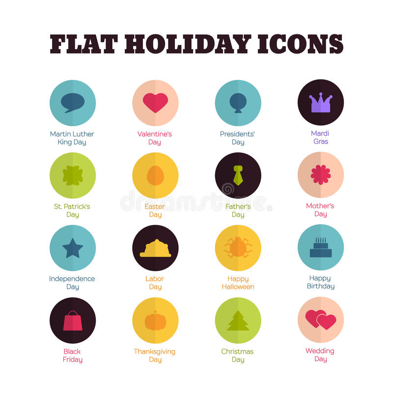 Set of flat icons for main national holidays royalty free illustration
