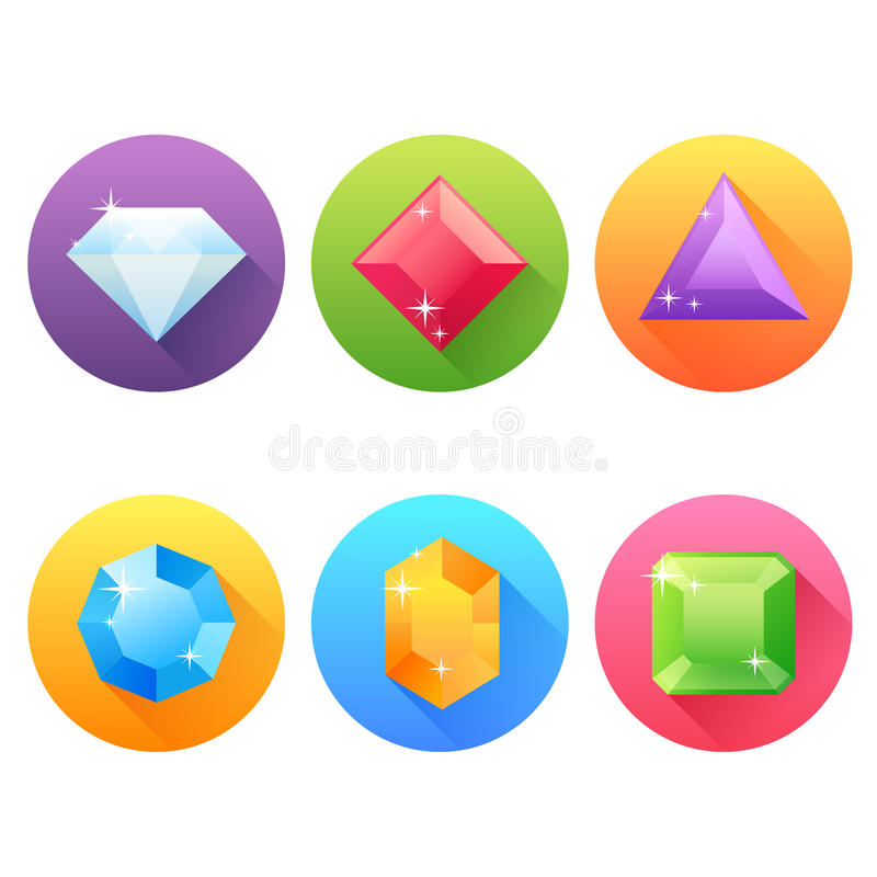 Set of flat icons with precious jewels stock illustration